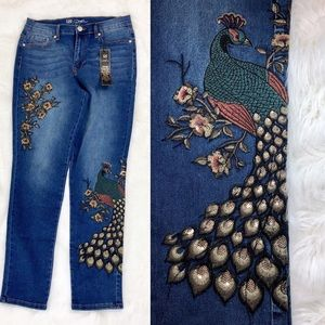 Diane Gilman Jeans Peacock Floral Embroidered